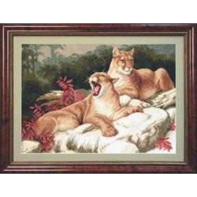 Набор для вышивки крестом Чарівна Мить М-18 Львы на камнях