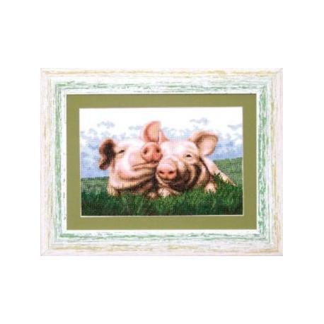 Набор для вышивки крестом Чарівна Мить А-060 «Свинки фото