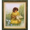 Набор для вышивки крестом Чарівна Мить 484ч Девочка с голубем
