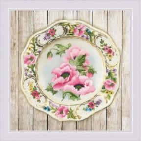 Набор для вышивки крестом Риолис РТ-0075 Тарелка с розовыми маками