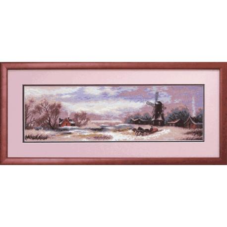 Набор для вышивки Чарівна Мить 578ч Зимний пейзаж с мельницей