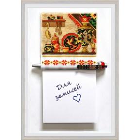 Набор для вышивки крестом Овен 1110 Магнит с блокнотом для записей Хохлома