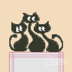 Набор для вышивки крестиком на одежде Марічка НКВ-004 Трио котов