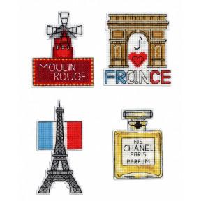 Набор для вышивки крестом МП Студия Р-306 Франция. Магниты