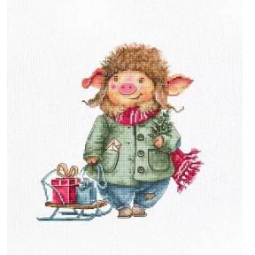 Набор для вышивки Luca-S B1160 Рождественская свинка фото