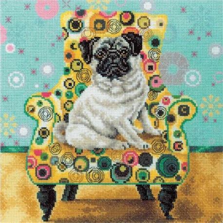 Набор для вышивки RTO M268 Интерьерные собачки – мопс фото