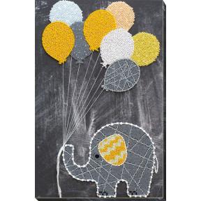 Набор для вышивки бисером на холсте Абрис Арт АВ-655 «Слоненок с шариками»