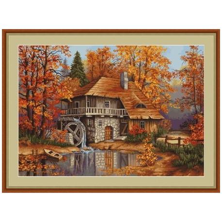 Набор для вышивки крестом Luca-S Осенний пейзаж B481 фото