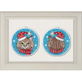 Набор для вышивки крестом Овен 1136 Новогодний кот