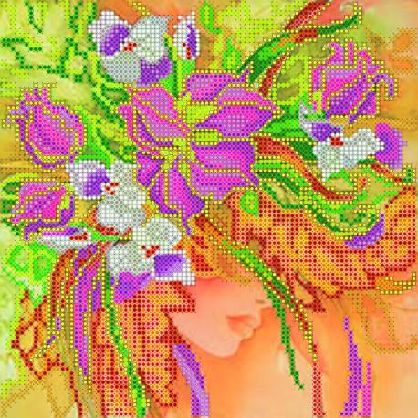 Схема для вышивания бисером Абрис Арт АС-008 Девушка-Осень фото