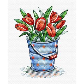 Набор для вышивки крестом МП Студия  М-377 Свежесть тюльпанов