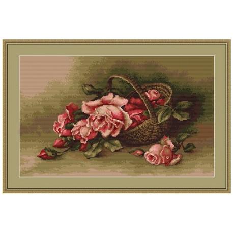 Набор для вышивки гобелена Luca-S Корзина с розами G483 фото