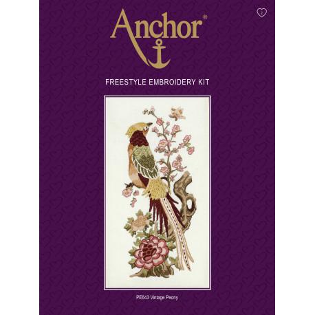 Набор для вышивания гладью Anchor PE643 Винтажные пионы фото