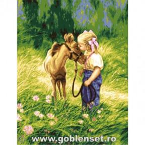 Набор для вышивания гобелен Goblenset G1082 Девочка с пони фото