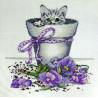 Набор для вышивания Design Works 2545 Flowerpot Kitty фото