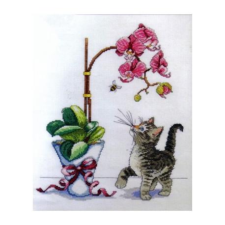 Набор для вышивания Design Works 2546 Orchid Kitty фото