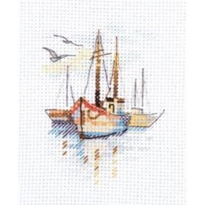 """Набор для вышивки крестом Алиса """"Лодки на рассвете""""  0-196"""