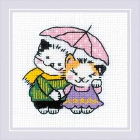 """Набор для вышивания крестом Риолис """"Котомания. Двое под дождем"""" 1810"""