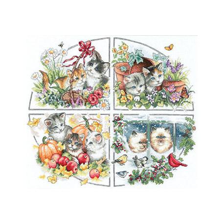 Набор для вышивки крестом Dimensions 35154 Four Seasons Kittens