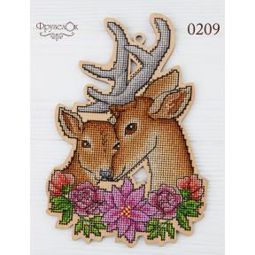 """Набор для вышивки крестом на деревянной основе ФрузелОк """"Олени"""" 0209"""