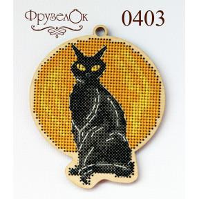 """Набор для вышивки крестом на деревянной основе ФрузелОк """"Черный кот"""" 0403"""