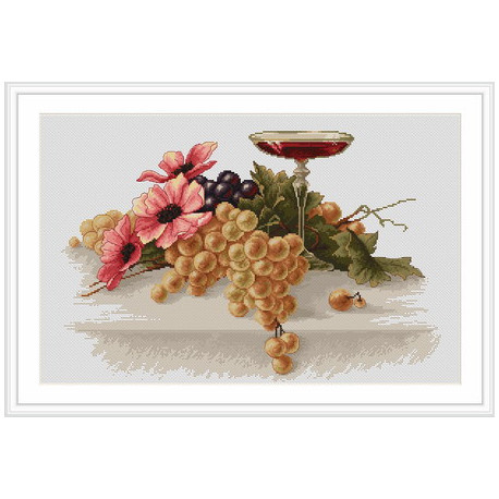 Набор для вышивки крестом Luca-S Цветы и виноград B214 фото