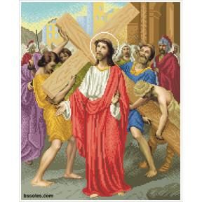 """Набор для вышивания бисером БС Солес """"Иисус берет на себя крест"""" ХД-02"""