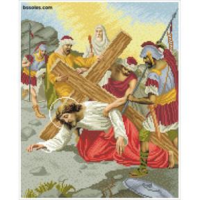 """Набор для вышивания бисером БС Солес """"Иисус второй раз падает под тяжестью креста"""" ХД-07"""