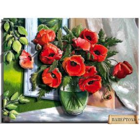 "Картина из бумаги Папертоль ""Маки на окне"" РТ150188"