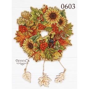"""Набор для вышивки крестом на деревянной основе ФрузелОк """"Осенний"""" 0603"""
