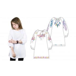 Сорочка женская под вышивку, белая, рукав 3/4 присобранный, размер 46, 876-18/09-46