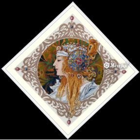 Набор для вышивания крестом Мережка Альфонс Муха. Блондинка К-141