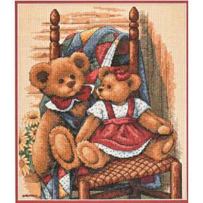 Набор для вышивания  Dimensions Мишки на стуле (Teddies on Quilt) 35103