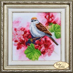 Набор для вышивания бисером Tela Artis НВ-006 Птичка на кусте герани