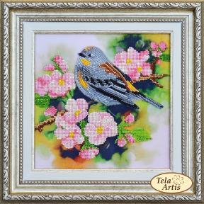 Набор для вышивания бисером Tela Artis НВ-003 Птичка на ветке абрикоса