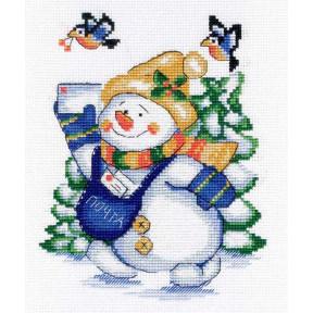 Набор для вышивки крестом МП Студия Снеговик НВ-256