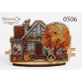 """Набор для вышивки крестом на деревянной основе ФрузелОк """"Осенний дом"""" 0506"""