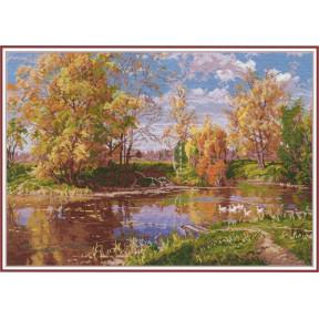 """Набор для вышивки крестом Овен """"Осенний пруд"""" 1240"""