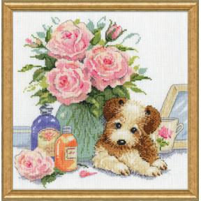 Набор для вышивания Design Works Puppy with Roses 3264