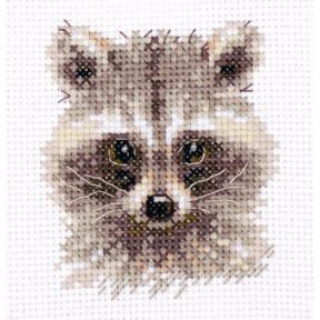 Набор для вышивки крестом Алиса Животные в портретах. Енотик 0-208