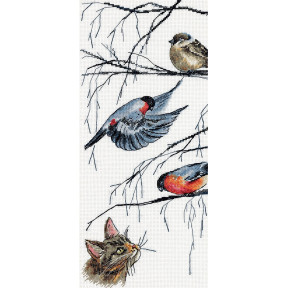 """Набор для вышивки крестом Panna  """"Любопытный кот и птички"""" Ж-7129"""