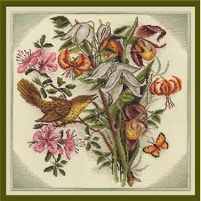 Набор для вышивки крестом Panna Ц-0797 Букет цветов с птицей