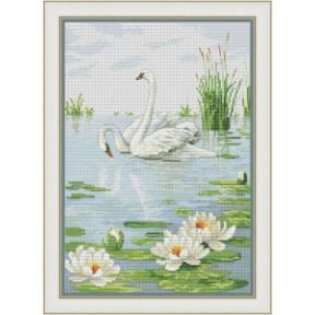 Набор для вышивания крестиком OLanTa Пара лебедей VN-141