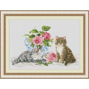 Набор для вышивания крестиком OLanTa Два котенка  VN-142