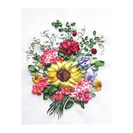 Набор для вышивки лентами Panna Ц-0909 Букет с подсолнухом фото