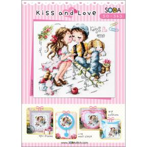 Схема для вышивки нитками крестиком Soda Stitch  ''Kiss and Love//Поцелуй и любовь'' SODA Stitch