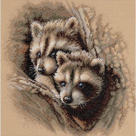 Набор для вышивания Dimensions 35253 Two Raccoon Cubs фото