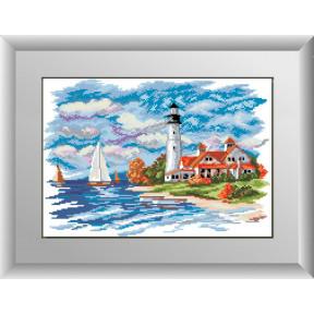 Набор для рисования камнями алмазная живопись Dream Art Морской пейзаж(маяк) (квадратные, полная) 30149D