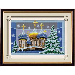 Набор для рисования камнями алмазная живопись Dream Art Рождественские купола (квадратные, полная) 30196D
