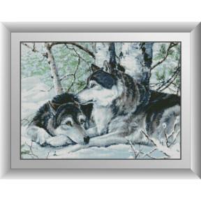 Набор для рисования камнями алмазная живопись Dream Art Пара волков (квадратные, полная) 30201D